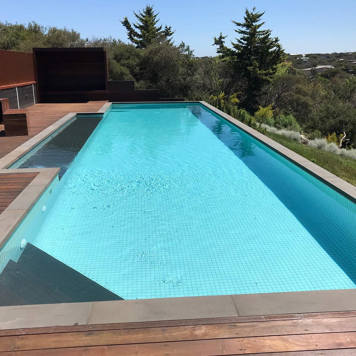 pool on sloping block