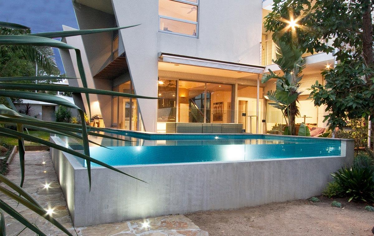 glass above ground pool